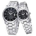 Популярные WEIDE массив из нержавеющей стали пары наручных часов кварцевые часы движение мода свободного покроя платье часы для мужчины и дамы