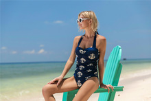 Summer Europe and America Womens Siamese Conjoined Bikini High Waist Swimsuit Lace Up