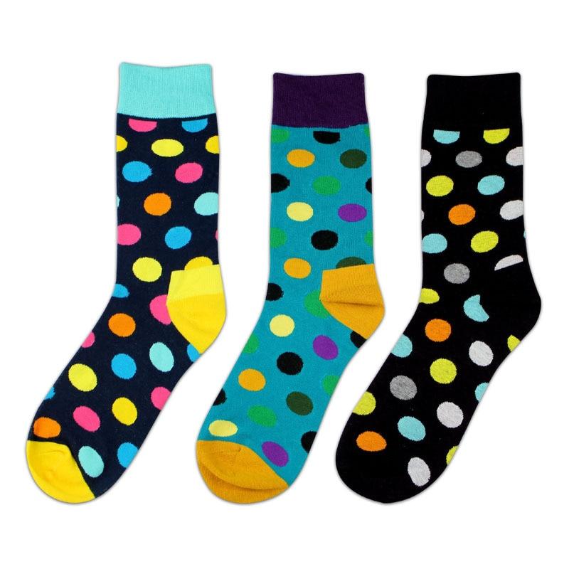New Colorful Cotton Men Crew Happy Socks Style Big Dots Pattern Hip Hop British Casual Harajuku Designer Brand Novelty Dress