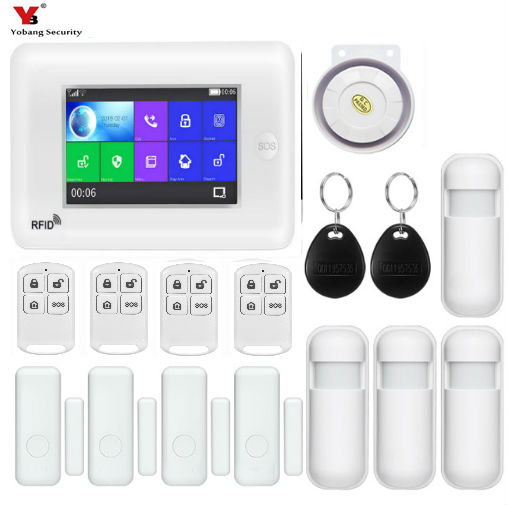 Yobang Sécurité Tous Les Écran Tactile Alexa Version 433 mhz sans fil WIFI GSM Intelligent Moniteur de Sécurité À Domicile Système D'alarme Antivol Kits