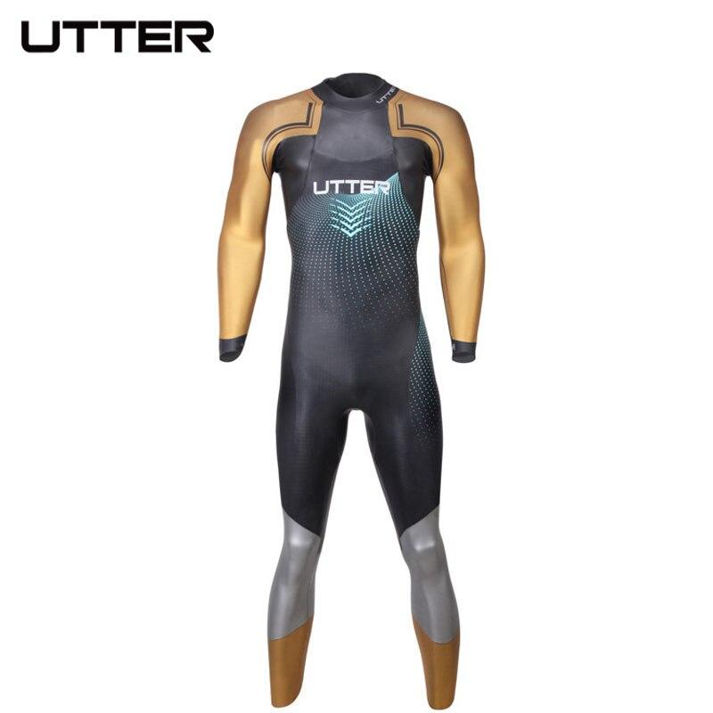 UTTER Elitepro uomo Oro SCS Triathlon Muta In Neoprene Manica Lunga Costumi Da Bagno per Costumi Da Bagno Corsa e il Ciclismo