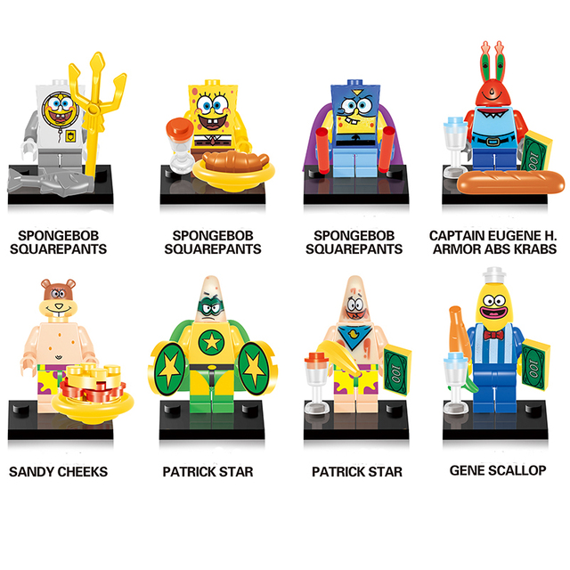 Compatible LegoINGlys NinjaINGlys Spongebob figures DIY Children Gift Building Blocks Kids model bricks Toys wj0113