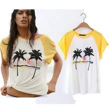 withered women's summer t-shirt Coconut trees embroidery print Color matching beach sexy o-neck loose crop tees women tops 2017