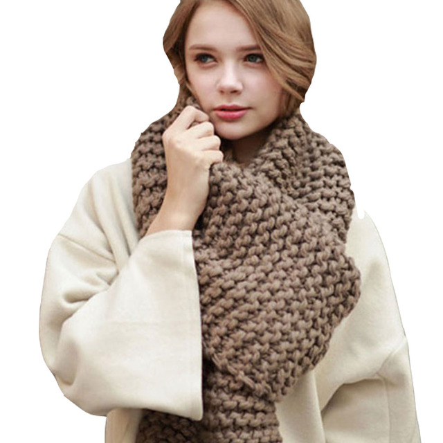 2017 Winter  Fashion Women's Scarf  Solid Korea Euro Ladies Handmade Scarf Large Casual Wool knitted Thick Warm scarves  Female