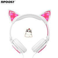 Newest Cat Ear Headphones With LED Light Cute Cat Ear Headset For Girls Children Foldable Flashing