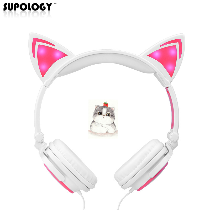 SUPOLOGY Cat Ear Headphones with LED Light Cute Cat Ear Gaming Headset for Girls Children Flashing Glowing Gaming Earphones foldable flashing glowing cat ear headphones gaming headset earphone with led light for pc laptop computer mobile phones