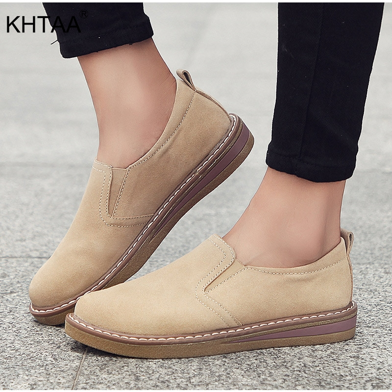 Women's Oxford Flat Platform Sneakers Female Casual Suede Slip On Sewing Shoes Elastic Band 2018 Lad