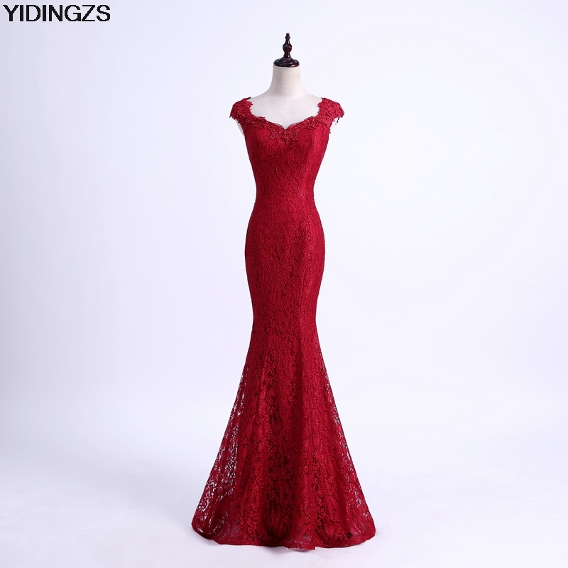 YIDINGZS Elegant Beads Lace Mermaid Long Evening Dress 2018 Simple Wine Red Party Dresses Robe De Soiree Longue round neck ladies sweater dresses cotton knitted 2018 summer womens mini dresses long sleeve party dress robe longue femme q1