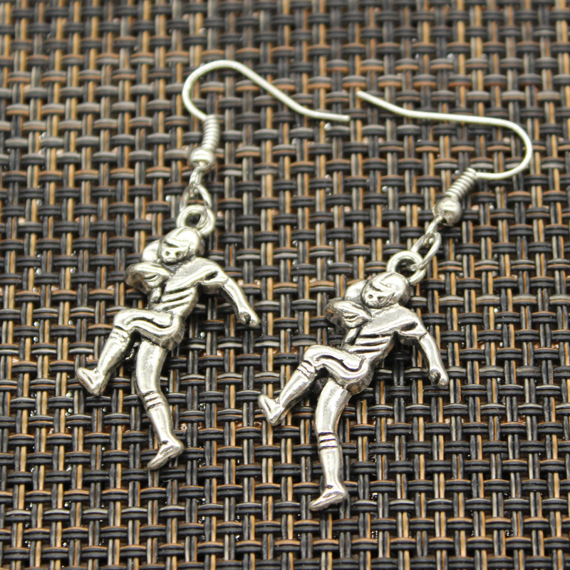 Antique Silver Color baseball player sporter soccor football swimming surfing Charm Drop Earring, Dangle Earrings For Womens