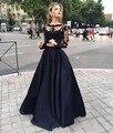 Black Two Pieces Evening Dresses  Long Sleeves Lace Applique Prom Party Dresses Robe De Soiree Vestido De Festa