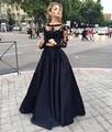 Negro de Dos Piezas de los Vestidos de Noche de Manga Larga de Encaje Apliques Partido Prom Vestidos Robe De Soirée vestido de Festa