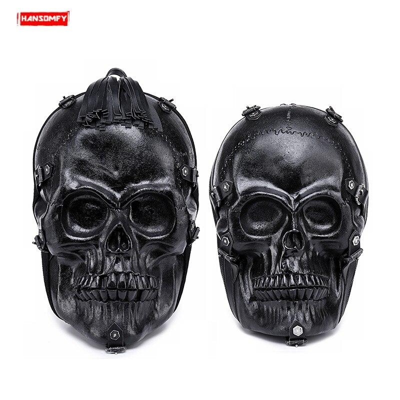 Nouveau Punk locomotive 3D crâne hommes sac à dos rue tendance hip hop drôle hommes sac à bandoulière en cuir noir voyage cool sac à dos