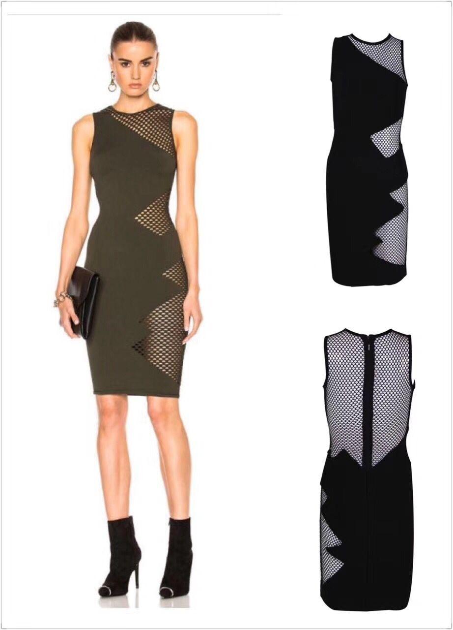 Haute qualité Sexy femmes robe sans manches noir grille maille rayonne mode Bandage robe