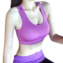 Female quick-drying yoga jogging vest no rims zero bound shockproof professional sports bra pad push up halter top underwear