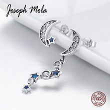 Joseph Mola 925 Sterling Silver Fine Jewelry Asymmetry Sparkling Moon & Star Drop Earrings for Women Party Dating Engagement(China)