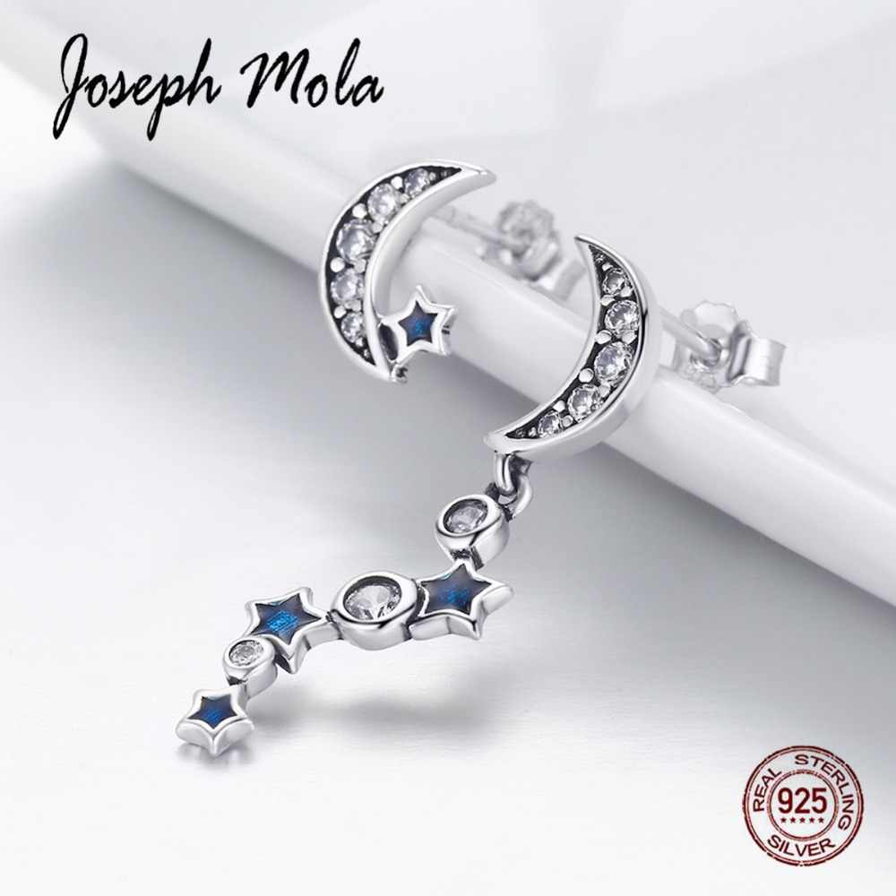 Joseph Mola 925 Sterling Silver Fine Jewelry Asymmetry Sparkling Moon & Star Drop Earrings for Women Party Dating Engagement