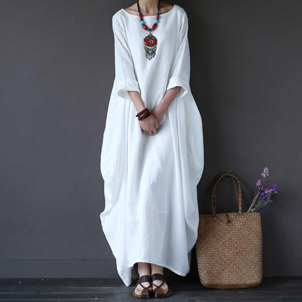 91e37ca19fe 4XL 5XL Plus Size Dresses Elegant Cotton Linen Three-Quarter Sleeve Loose  Long Summer Dress