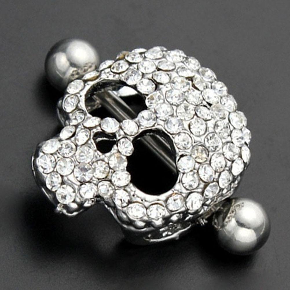 Women Nipple Piercing Surgical Steel Skull Design Shield Nipple Ring Girls Jewelry -7736