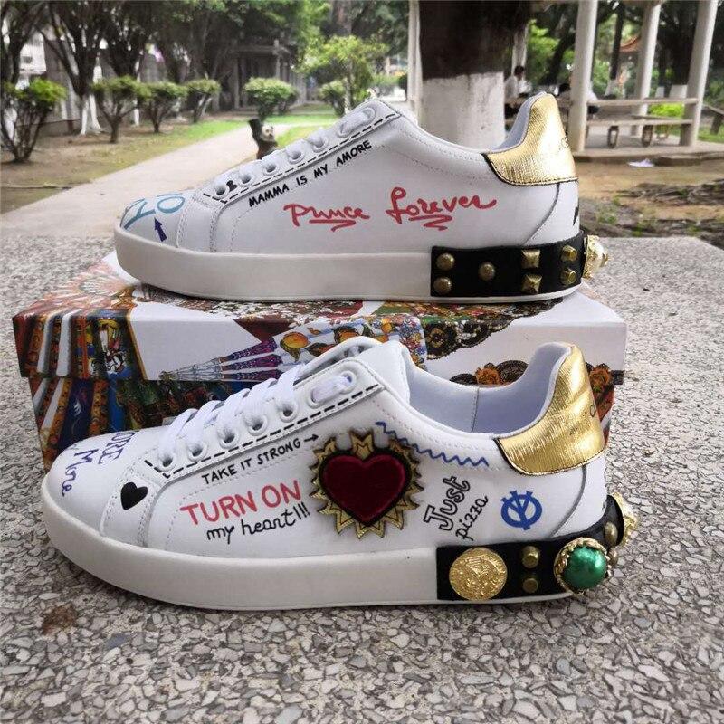 Hanbaidi Luxury Handmade String Beads Mens Sneakers Runway Genuine Leather White Low Top Mens Casual Shoes Round Toe Flats Men