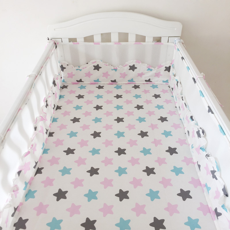 Summer Baby Bed Sets Bumper Breathable Bed Cotton Printing Mesh Collision Prevention Crib Piece Newborn Baby Bed Bumper Bedding