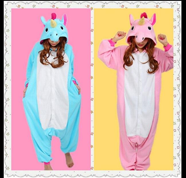 Новый животных пижамы Для женщин костюмы Единорог собака Нарвал сова кошка медведь белка ...