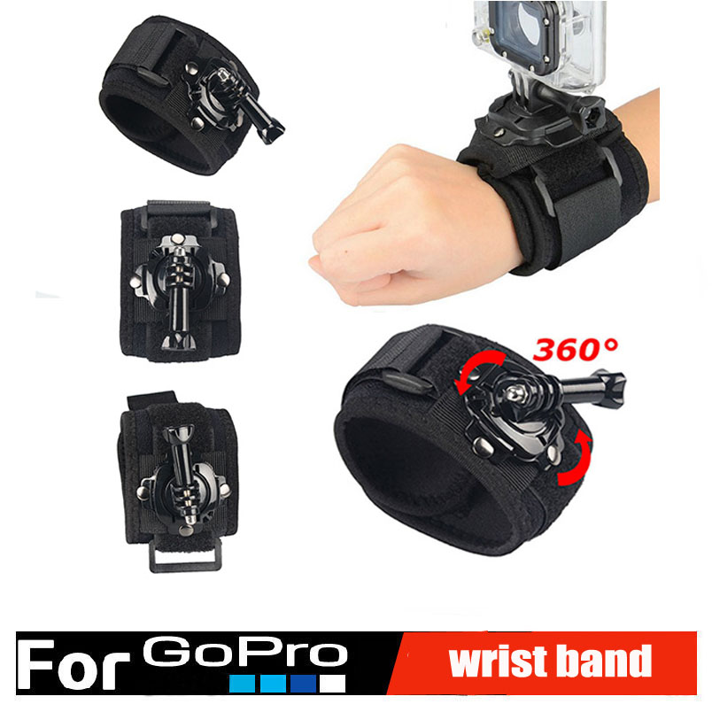 360 Degrees Wrist Mount Band Strap And Screw for Gopro Hero 2 3 3+ 4 Xiaomi Yi xiomi go pro SJ4000 Go pro Accessories