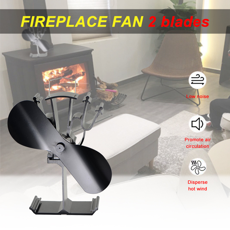 Efficient 2 Blade Heat Powered Stove Fan Golden/Silver/Black Wood Burner Eco Fan Home Efficient Heat Distribution Fireplace Fans