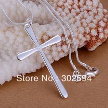 P066 Promotions Free shipping Beautiful fashion Elegant  silver plated  charm smooth cross pendant pretty Necklace jewelry