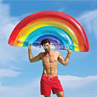 Giant Rainbow Inflatable Floats Half Watermelon Swimming Pool Float Beach Water Toy Blowup Fruit Floatie Air Mattress Lounger