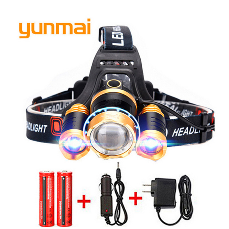 8000 Lumens Headlight LED CREE XM-L T6+2Q5 Headlamp Zoomable High Power Lamp Light+2*18650 Battery + AC Charger+Car Charger 5 t6 led headlight 30000 lumens 4 mode zoomable led headlamp rechargeable head lamp flashlight 2 18650 battery ac dc charger box