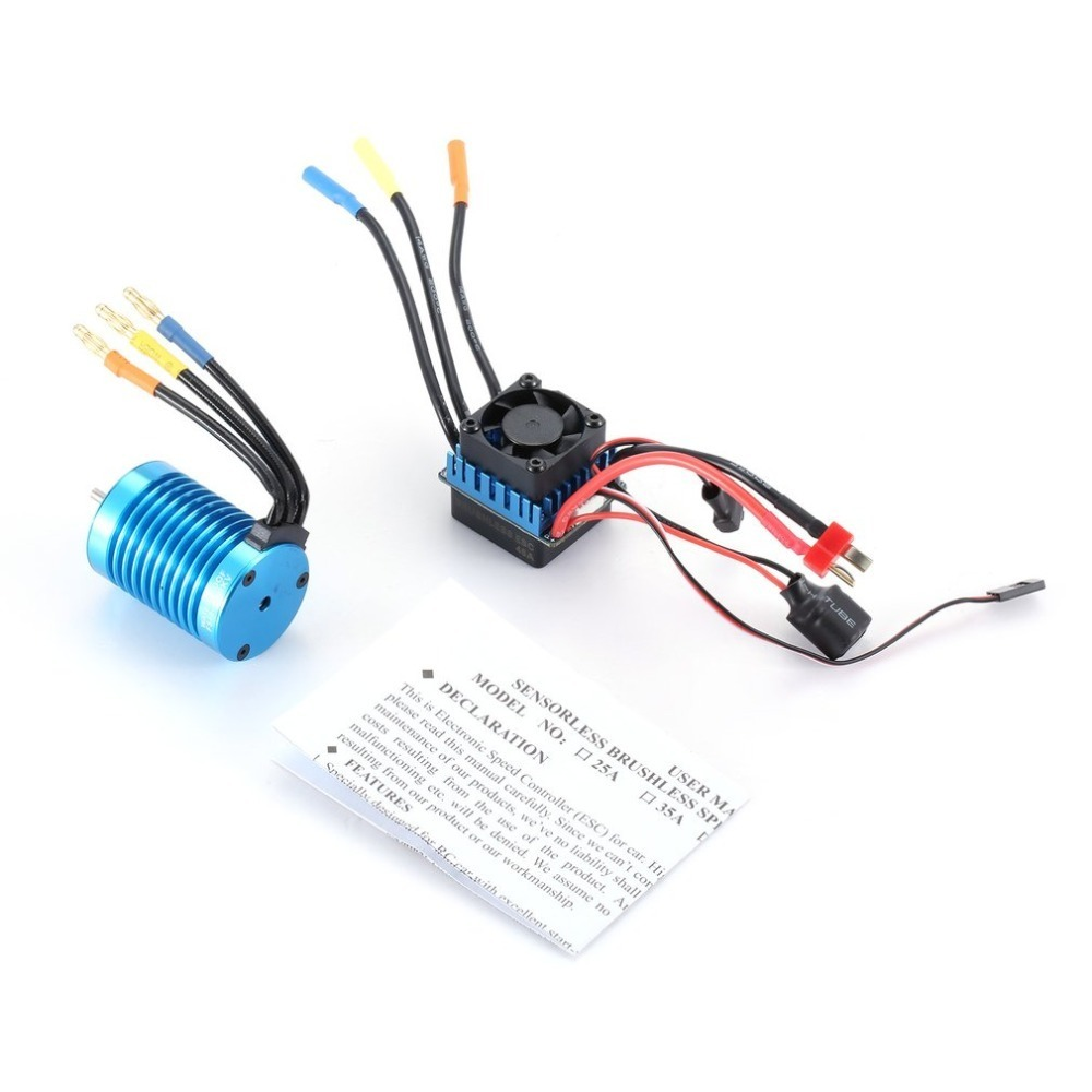 F540 4370KV Motor Sensorless Brushless Motors with 45A ESC Electric Speed Controller Combo Set for 1/10 Scale RC Car Truck Parts 45a brushless speed controller esc w fan for 1 18 1 12 cross country car