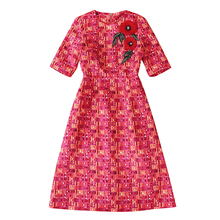 High Quality European and American 2016 Autumn New  Stylish Women Dress Jacquard Plaid O-Neck Short-sleeved Women Dress