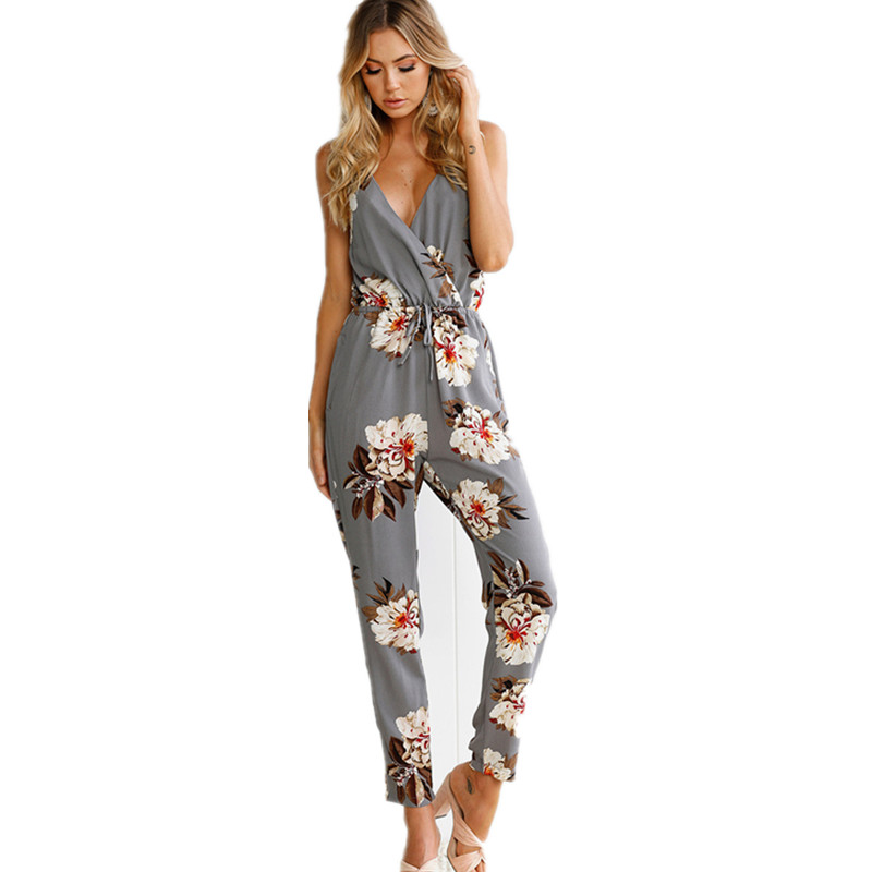 Casual flower print long rompers womens jumpsuit Sexy v neck straight overalls Streetwear sashes jumpsuit
