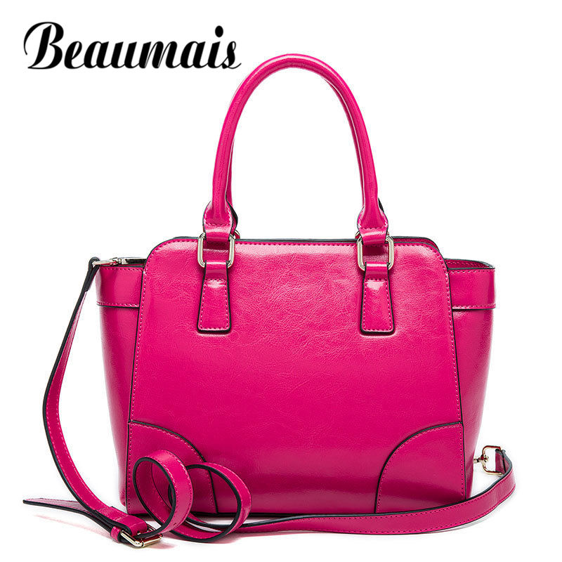 Beaumais Fashion Genuine Leather Bags Women Real Leather Large Capacity Ladies Shoulder Bag High Quality Crossbody Bags DF0162
