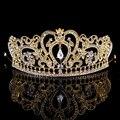 Barroca de plata oro mujeres Rhinestone lleno Crystal Crown diadema Vintage nupcial pelo de la boda accesorios de la joyería del concurso d