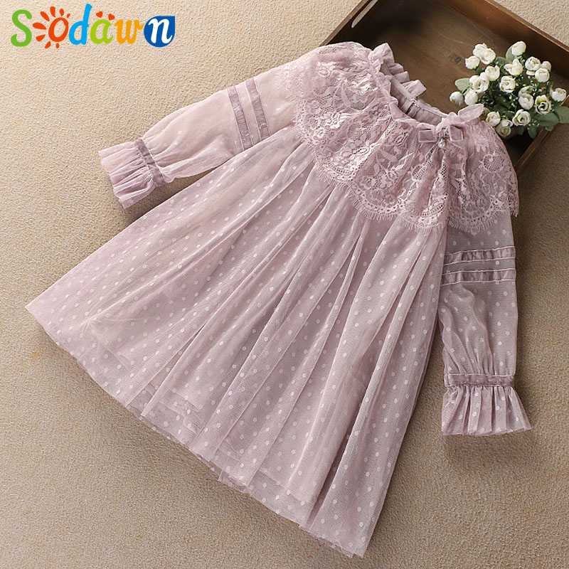 Sodawn 2018 New Spring Children's Clothing Girls Princess Style Lace Dress Children's Clothes Cute Princess Dress Fashion Dress