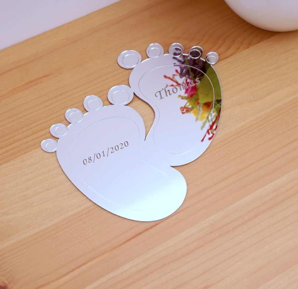 10 шт. 10 см * 9 милый след на заказ персональное имя зеркало для новорожденных детские акриловые наклейки Babyshower декоративные бирки