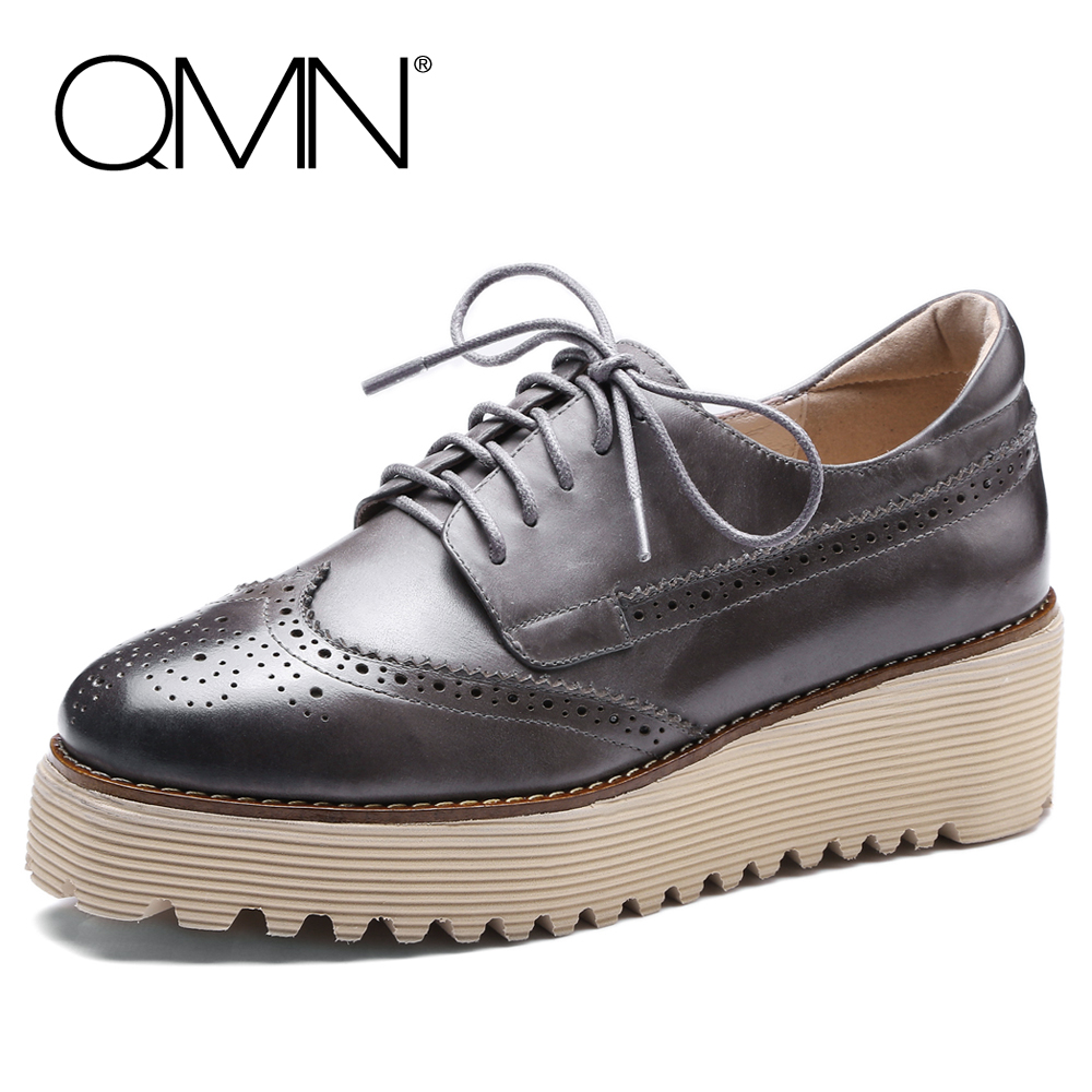 ФОТО QMN women women laser-cut brushed leather brogue shoes Women Square Toe Oxfords Casual Shoes Woman Leather Platform Flats