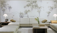 Hand painted silk wallpaper painting Chinese wisteria wall covering sticker many pictures optional