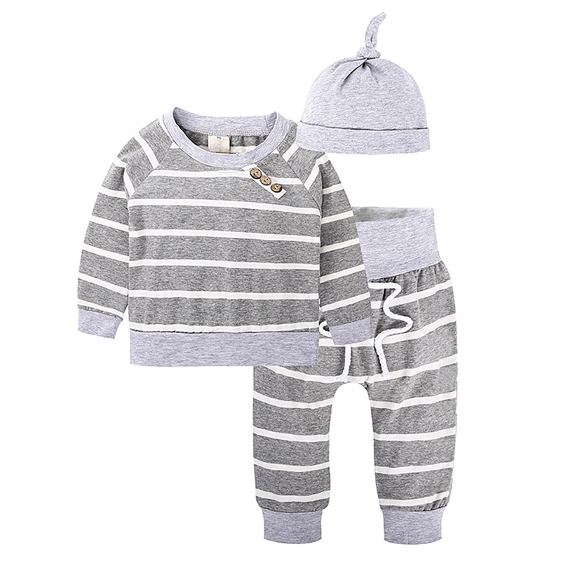 2018 Kacakid Gray New Fashion Newborn Baby Autumn And Winter Clothing Suit Striped Shirt + Waistband + Hat 3 Sets Y6 Ultimi Design Diversificati