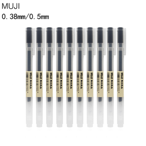 Image 4 - MUJI 10pcs Gel Pen Black/Blue/Red Ink Color Pens 0.5mm 0.38mm Cute Pens School Stationary Stylo Kawaii Line Friends Caneta Gel