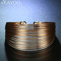 AYAYOO Vintage Geometric Charm Bracelets Bangles Jewelry For Women Gold Plated Multilayer New Wedding Fashion Accessories