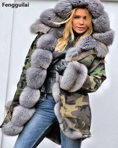 Image 4 - Bontjas Europese Amerikaanse Lange Hoed Camouflage Jas Herfst Winter Mode Stijl Nieuwe Temperament Jacket Slim Warm vrouwen Jas