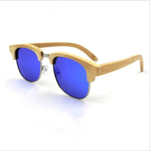 Newest fashion Polarized Handmade Bamboo Half-shell Sunglasses Extremely Light Eyewear Colorful Reflective lens Eyeglasses