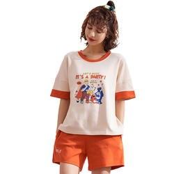 Женские пижамы Женская пижама для женщин 2019 летние женские пижамные комплекты для девочек с героями мультфильмов 100% хлопковые комплекты