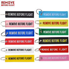Remove Before Flight Key Ring Chaveiro Embroidery Keychain for Aviation Gifts Red Luggage Tag Fob Motorcycle Car