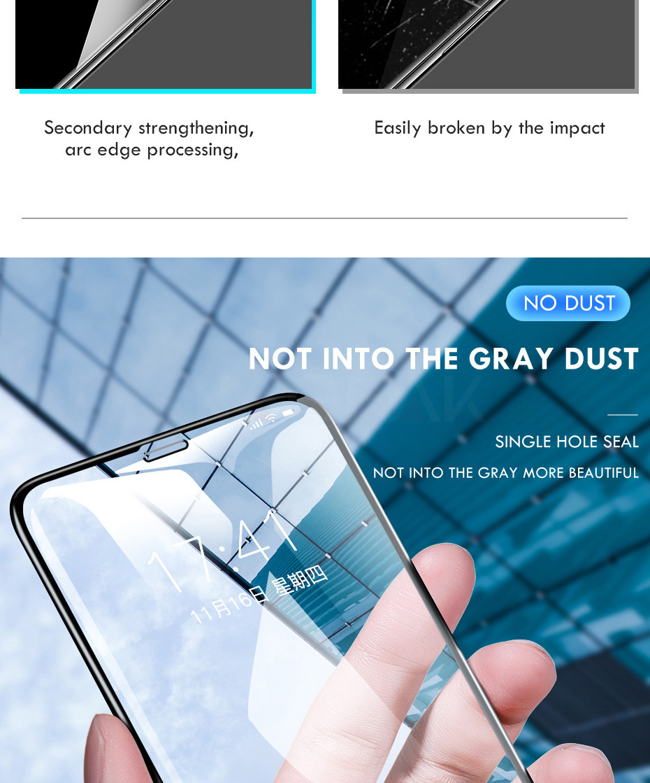 100D Curved Edge Full Cover Protective Glass On The For iPhone 7 8 6 6S Plus Tempered Screen Protector iPhone X XR XS Max Glass 3