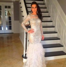 Luxury Mermaid Evening Dresses With Long Sleeves Feather 2016 Celebrity Lace Formal Evening Gowns For Wedding Party Prom Dresses