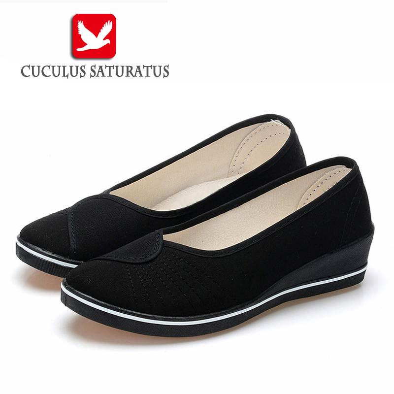 Cuculus Women Loafers Soft Slip On Canvas Flats Shoes Woman Solid Casual Breathable Shoe For Mother Platform Shoes 804 vintage embroidery women flats chinese floral canvas embroidered shoes national old beijing cloth single dance soft flats
