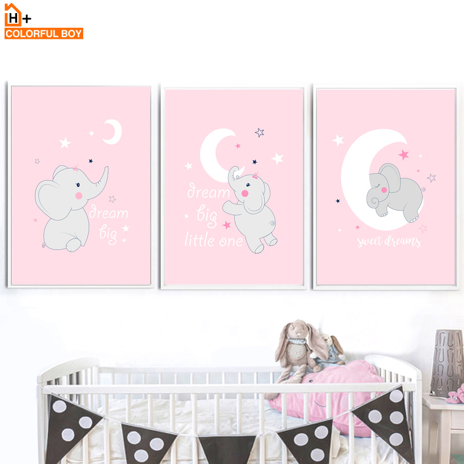 Moon Star Sleeping Girl Elephant Wall Art Canvas Painting Cartoon Nordic Posters And Prints Wall Pictures For Kids Room Bedroom in Painting Calligraphy from Home Garden